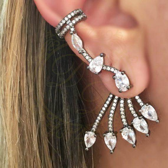 c4c2220912da5 Brinco Ear Cuff C  Ear Jacket Cristal Gotinhas Negro Semi Joias de Luxo