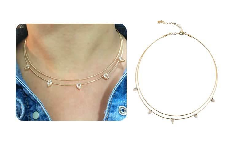 Colar Dourado Semi jóias de luxo Choker