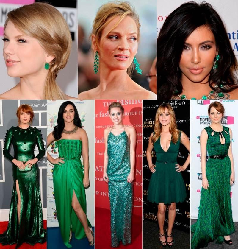 Famosas usando esmeraldas